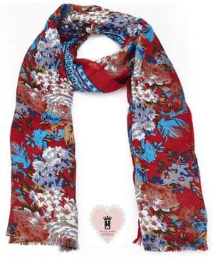 ASA92285 Red floral long scarf