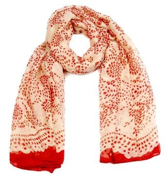 ASCA91455 Red Floral Dot Print Long scarf