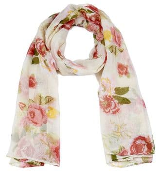 ASCA91512 Cream Rose Print Long scarf