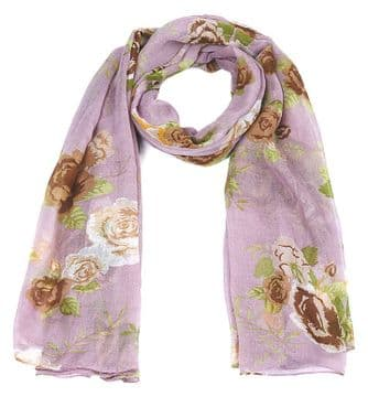 ASCA91513 Lilac Rose Print Long scarf