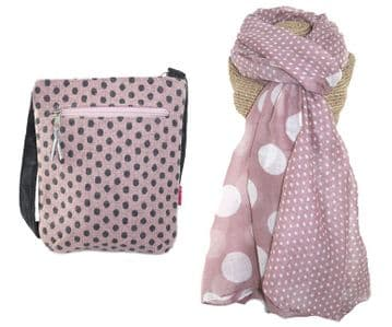 Banded Spot Scarf (Dusky Pink) and Bag