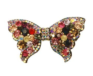 BE01030 bow hair slide with colourful sparkling sequins
