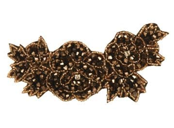 BE025010 fabric creation hair clip with colourful sparkling sequins - brown and gold