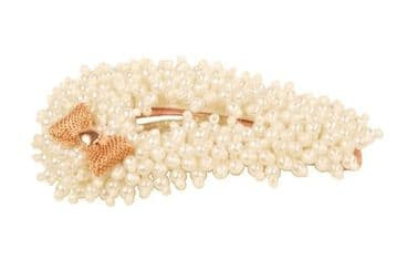 BE035010 beads hair slide creation with sweet little gold metal bow - white