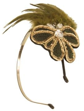 BE07600 green feather headband with gold and green sequence embroidery hair band