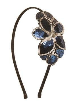 BE07720 dark navy blue flora fabric and silver sequence embroidery hair band
