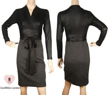 Black Stretch Jersey Top With Black Wool Skirt Dress - A Perfect dress for City Professionals