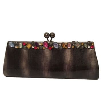 Black Stylish Clutch Bag Embroidery with sequins and beads handmade clutch / B1125