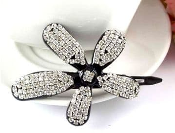 CL55 -  Flower hair slide with sparkling sequins - Silver