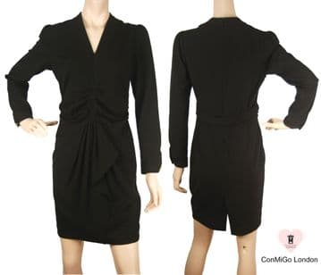 Con Mi Go black front split and draped style pencil dress - A Perfect dress for City Professionals