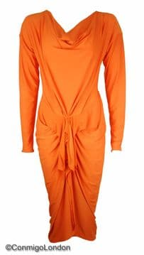 Con Mi Go London A2 Jersey Designer Dress - Orange