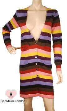 ConMiGo 205 Striped  Multi Coloured Long Cardigan Dress