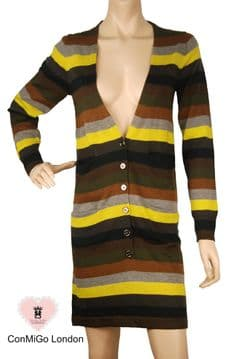 ConMiGo 206 Striped  Multi coloured Long Cardigan Dress