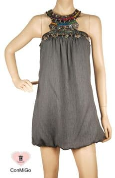 ConMiGo 245 Embellished Mini Dress  - Grey