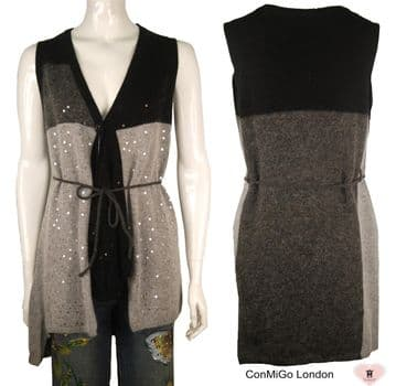 ConMiGo 248 Sleeveless Angora Sequin Cardigan