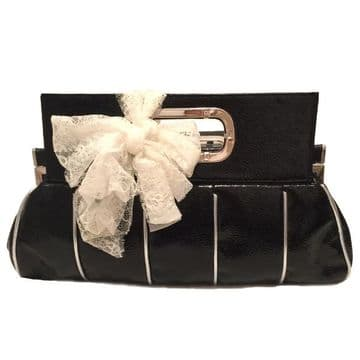 ConMiGo Lady's hand carry bags with Lace bow  / Black / B290