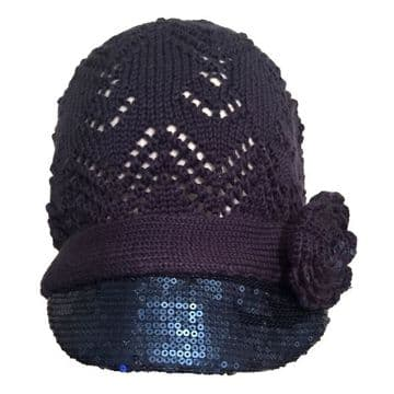 ConMiGo London Hand Knitted Flower Beanie with embroidery sequins  - Navy