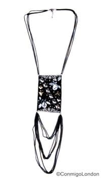 ConMIGo London J01017 Nicklace - A double chain with decorative fabric centre piece with eight lower chains