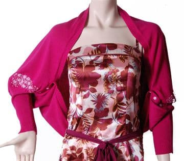 Conmigo Pink Cardigan with flower embroidery