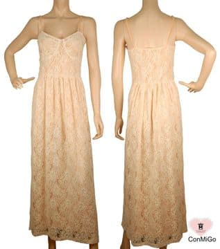 ConMiGo Striped Lace Maxi Dress  - Light Pink