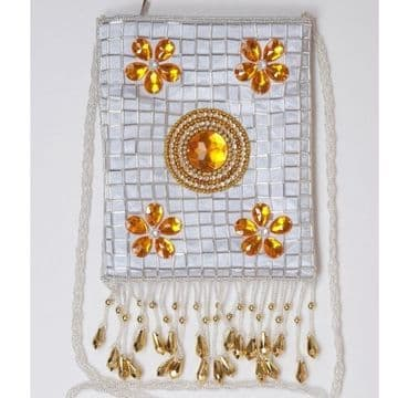 Delicate 100% Silk Embroidery with sequins and beads handmade Cross Body  Bag / B021/Silver