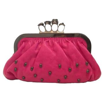 Evening Clutch Bag with Black Skull Ring Knuckle Duster Four Rings Party Night Club Bag / Fuchsia