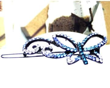 GC1010A - Eye catching blue and silver butterfly sequin hair slids