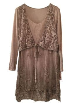 Goose Isand / Made in Italy - goITT1200 -  Lace Dress - Light Brown