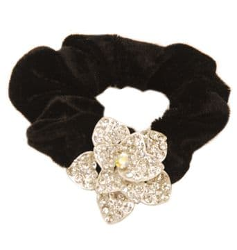 HR3120 - Black scrunchie decorated with a sparkling sukver crystsal sequin flower