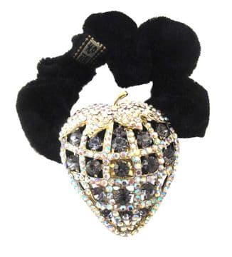 HSO030031 - Black scrunchie decorated with a sparkling gold, colourful and dark grey sequin strawberry