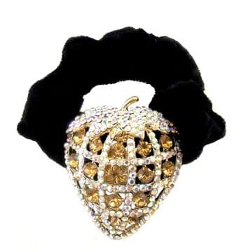 HSO030032 -  Black scrunchie decorated with a sparkling gold, colourful sequin strawberry