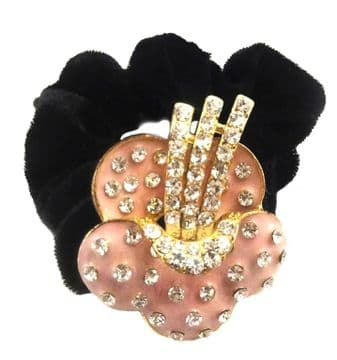 HSO030125 - Black scrunchie decorated with a sparkling silver and pink sequin apple