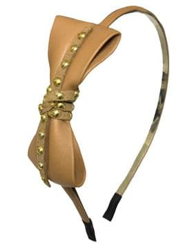 HT030017  Leather Headband - Natural Brown