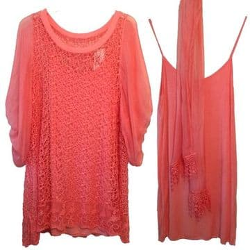 Made in Italy - GITD092C - Coral Two Piece Lace Tunic With Matching Scarf / 3 items