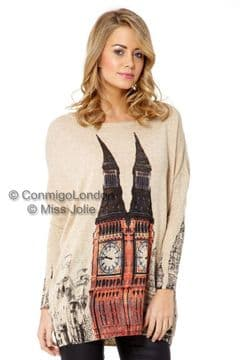 Miss Jolie Big Ben Print Jumper - Beige - Genuine Original Design