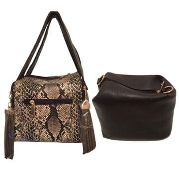 Modern 2 Bags In One Fine Faux Leather Bags With Snake Skin Print - Brown and Black / BSK45