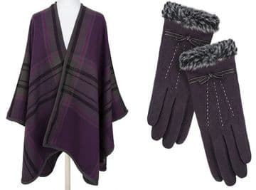 Set of  PIA ROSSSINI ANNETTE WRAP - Plum / Charcoal  and JEMMA GLOVE - PLUM (2 items)