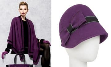SET OF PIA ROSSSINI AVA WRAP - VIOLET/BLACK + CARYS HAT VIOLET/BLACK (2 ITEMS)
