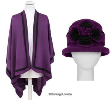 SET OF PIA ROSSSINI AVA WRAP/VIOLET/BLACK + MAGGIE HAT VIOLET/BLACK ( 2 ITEMS )