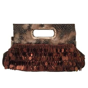 Stylish Clutch Bag Embroidery with sequins , beads and feathers, handmade clutch / Brown / B302