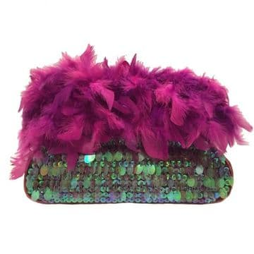 Stylish Clutch Bag Embroidery with sequins , beads and feathers, handmade clutch / Purple / B302