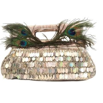 Stylish Clutch Bag Embroidery with sequins , beads and pecocfeathers, handmade clutch / Silver/ B309