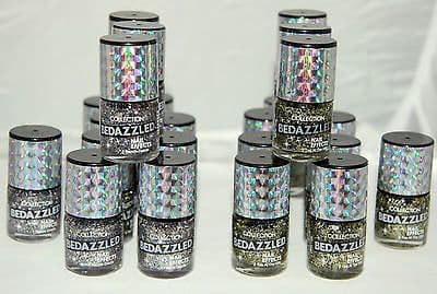24 x Collection Bedazzled Nail Effects Nail Polish| 2 Glitter Shades |  RRP £72 |