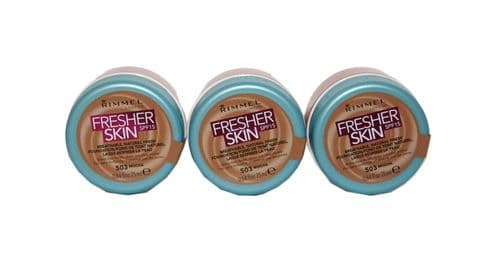 3 x Rimmel Fresher Skin Breathable Natural Finish Foundation | Mocha | RRP £22