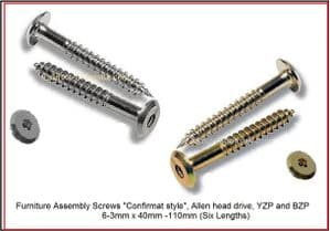 Furniture connector Screws (Confirmat style)..