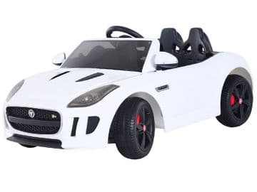 12v Electric Ride on Car Jaguar F Type Official Licensed Model in White with Parental Control