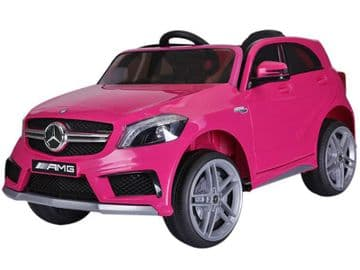 12v Electric Ride on Car Mercedes Benz A45 AMG Licensed Model in Pink with Parental Control