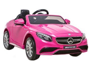 12v Electric Ride on Car Mercedes S63 AMG Official Licensed Model in Pink with Parental Control