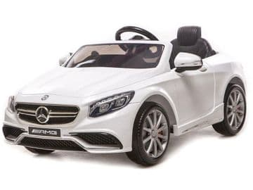 12v Electric Ride on Car Mercedes S63 AMG Official Licensed Model in White with Parental Control