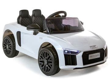 12v Electric White Audi R8 Spyder Licensed Model Ride on Car with Parental Control